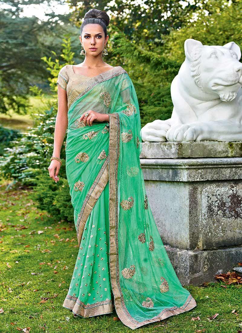 Green Net Designer Saree
