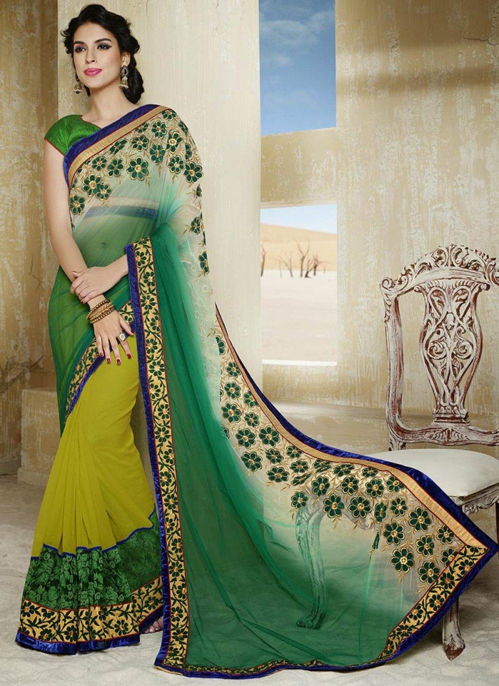 Green Net Half and Half Saree