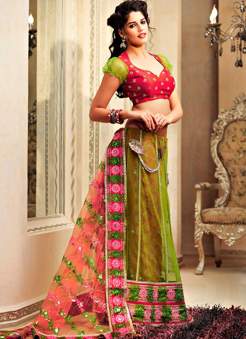 Green Pink Net Lehanga Saree