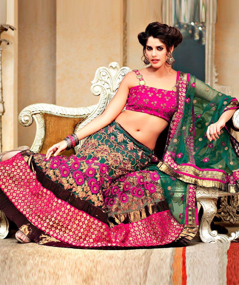Green Pink Net Lehanga Style Saree