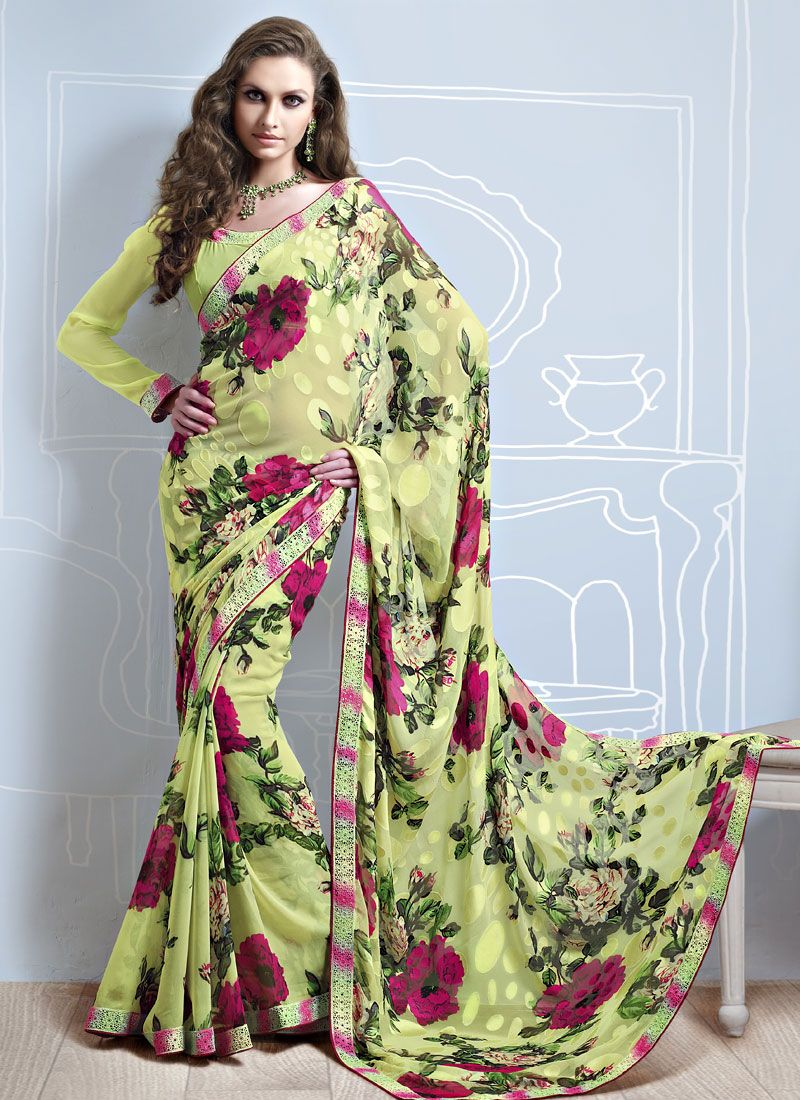 Green Printed Brasso Saree