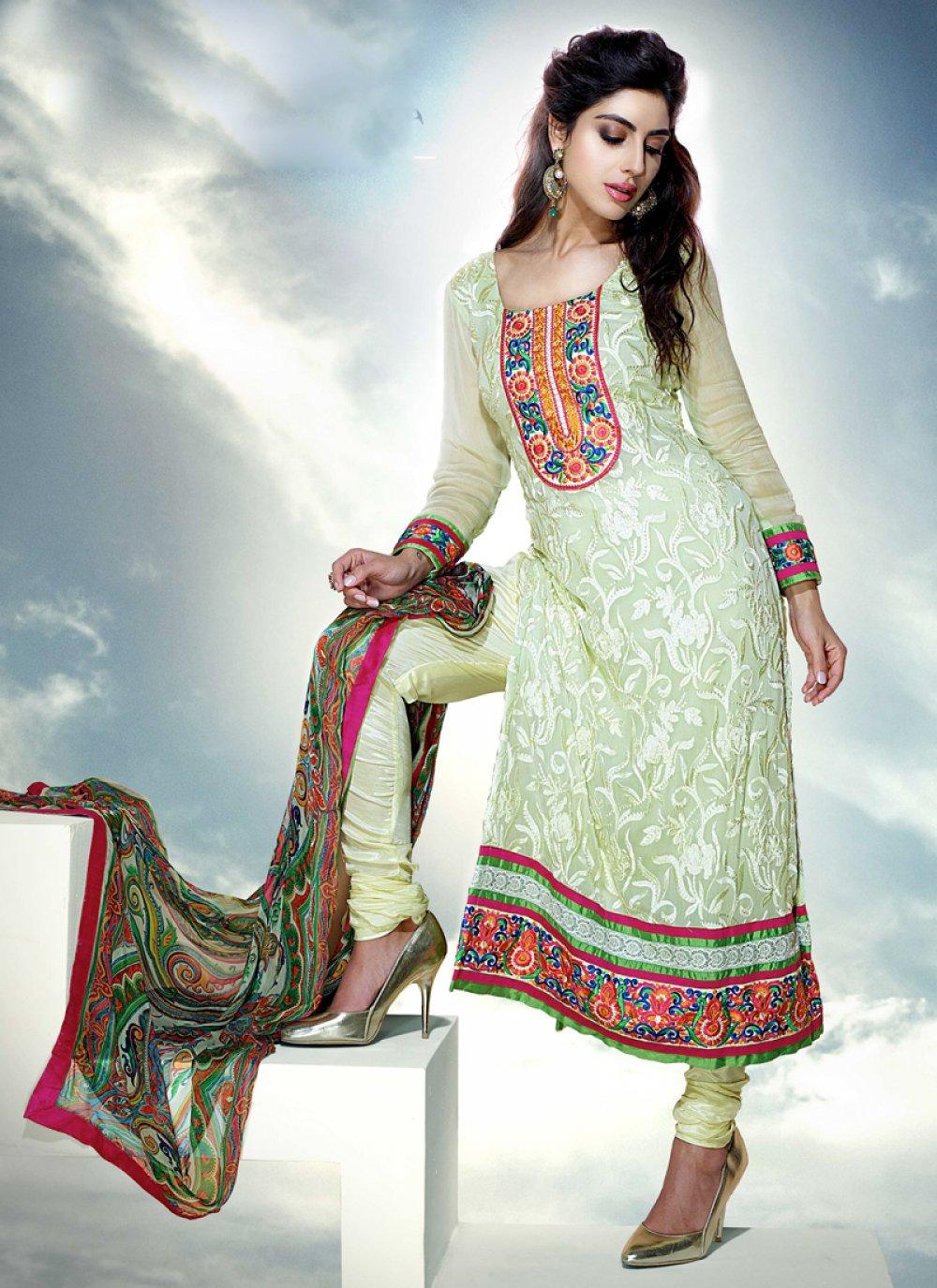 Green Pure Chiffon Churidar Salwar Suit