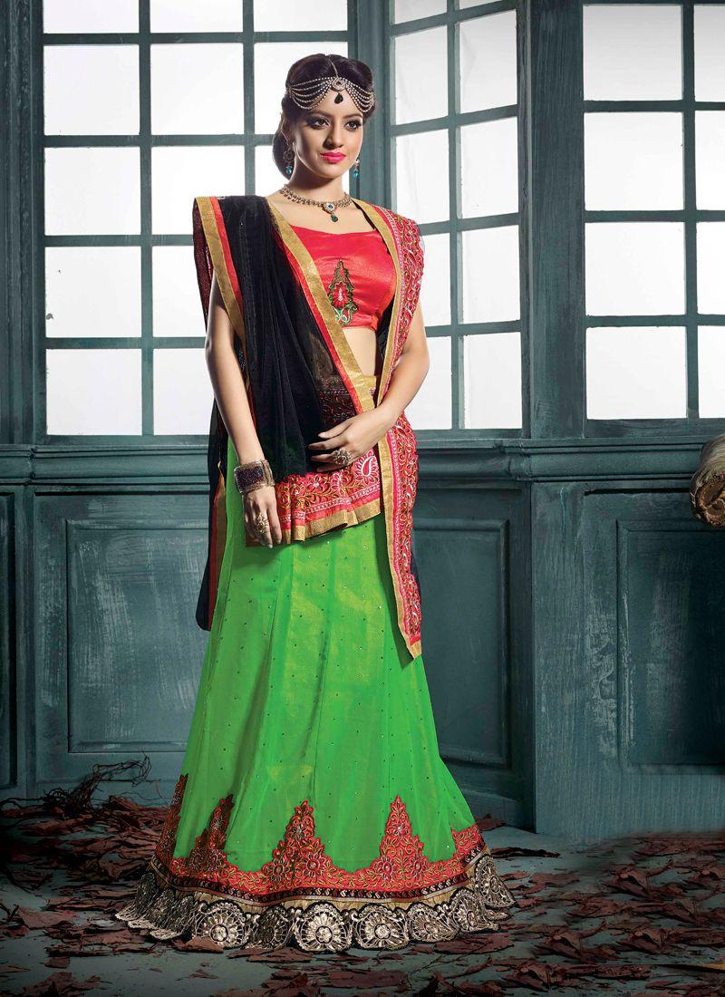 Deepika Singh Green Pure Georgette Lehenga Choli