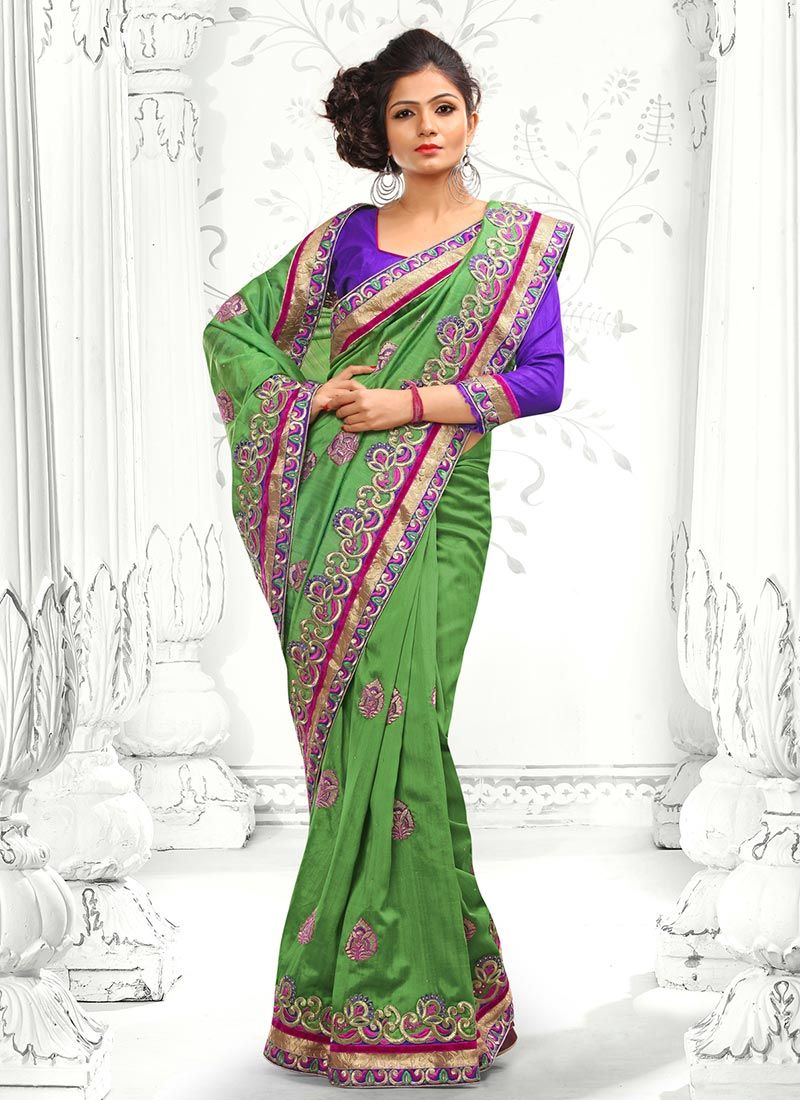 Green Resham Bhagalpuri Silk Saree