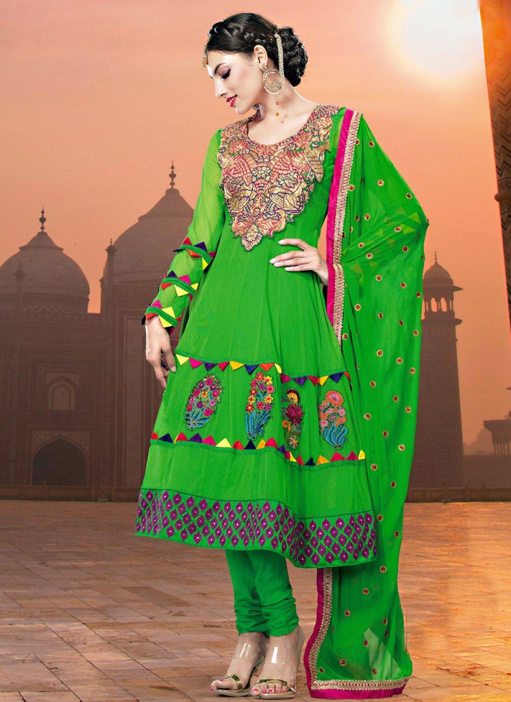 Green Resham Embroidered Net Churidar Suit