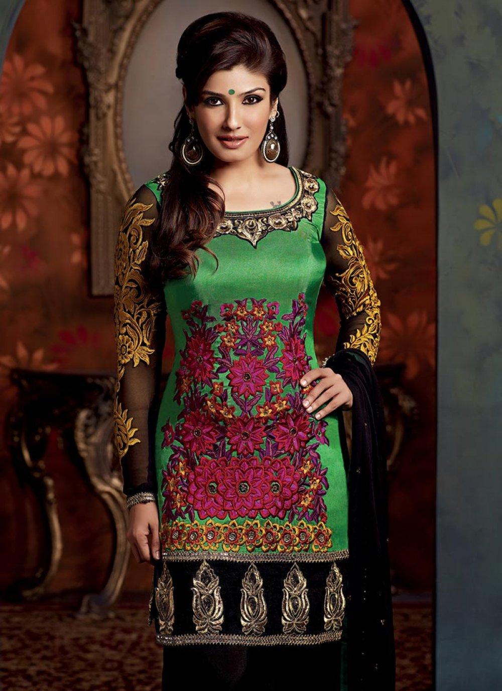 Green Resham Embroidered Salwar Suit