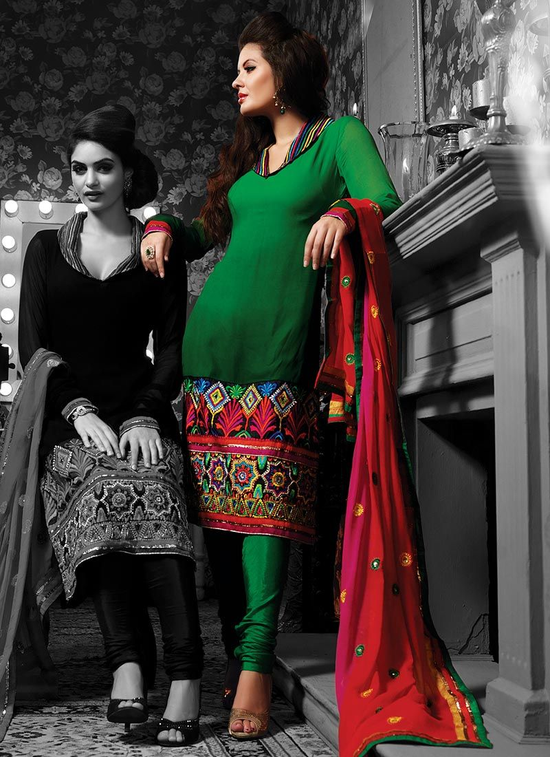 Green Resham Enhanced Churidar Suit