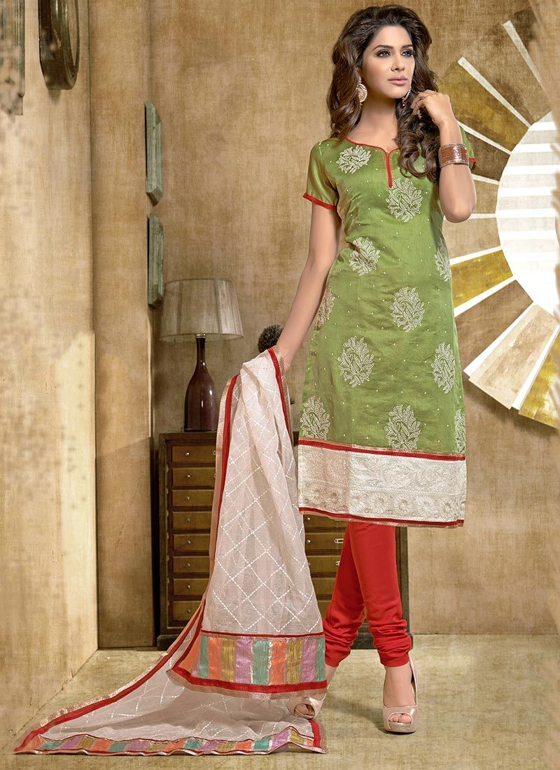 edce96c2b3 Green Resham Work Chanderi Cotton Churidar Suit -