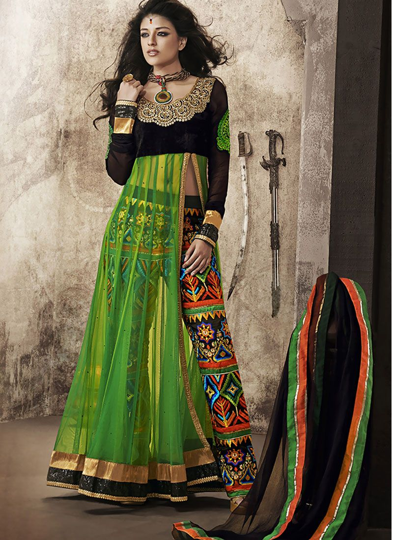 Green Resham Work Net Designer Suit