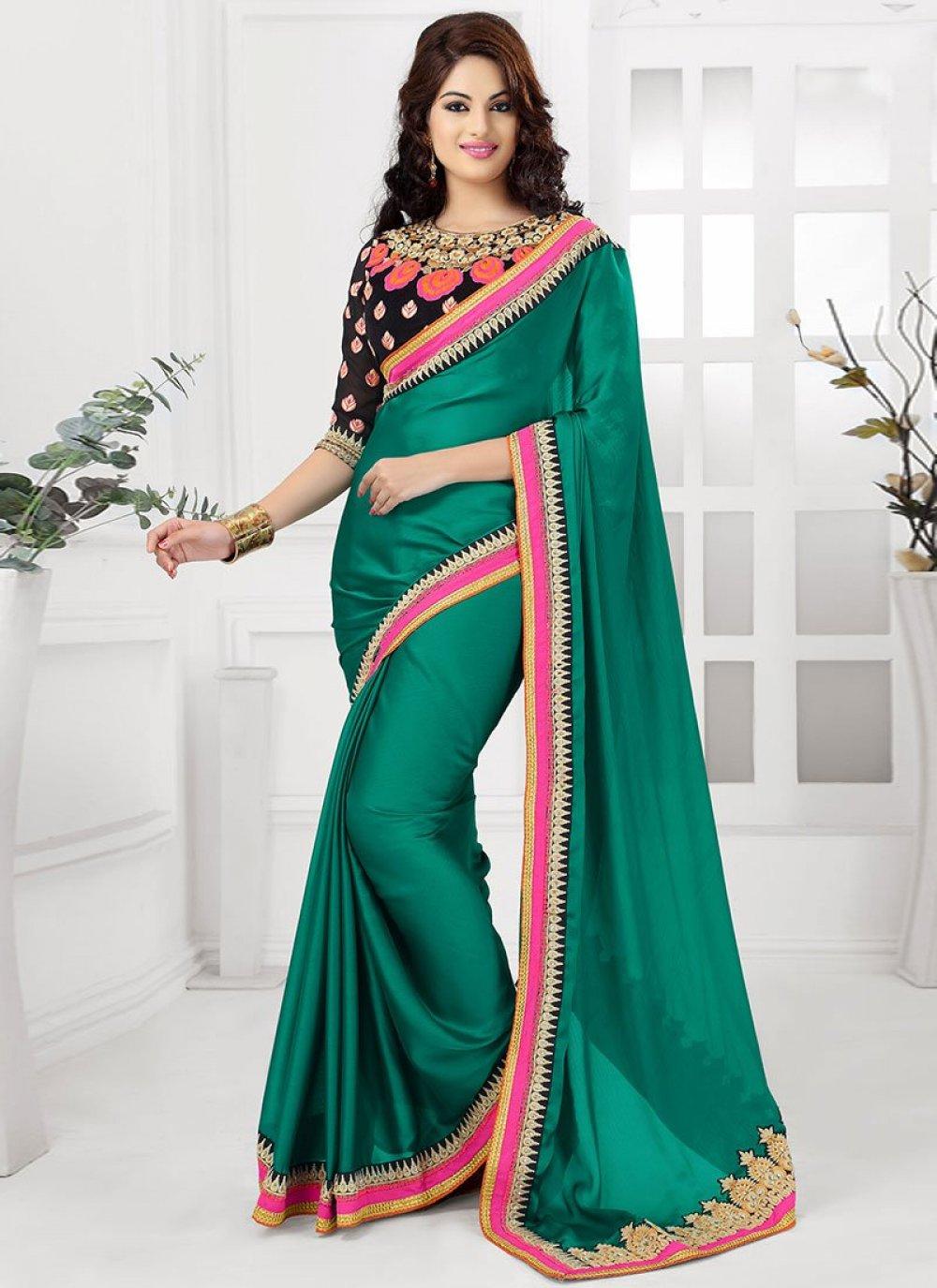 Green Satin Chiffon Party Wear Saree