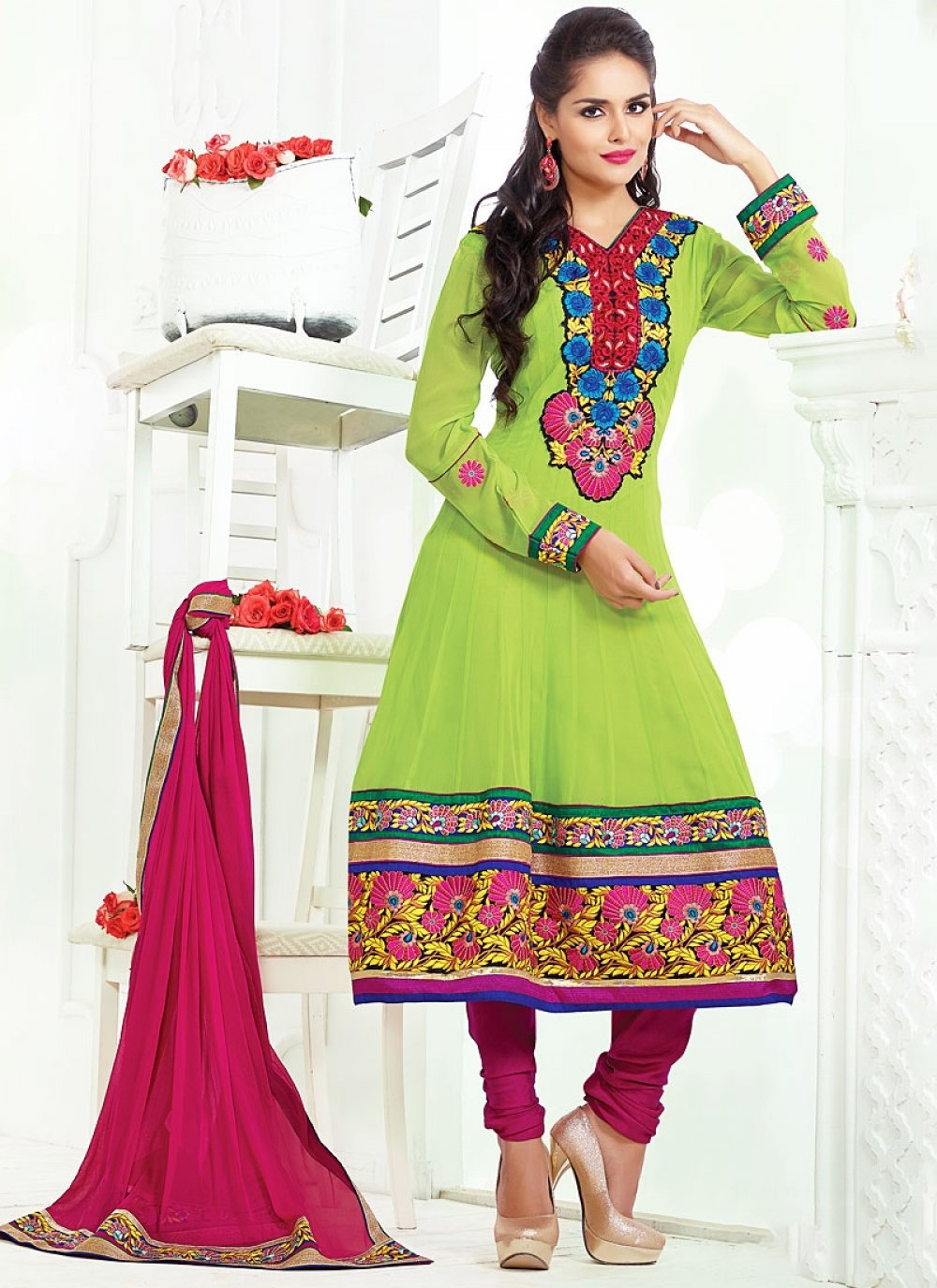 Green Viscose Anarkali Suit