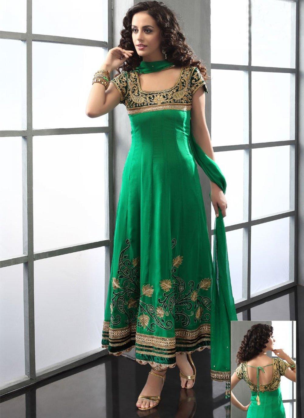 Green Viscose Embroidered Anarkali Suit