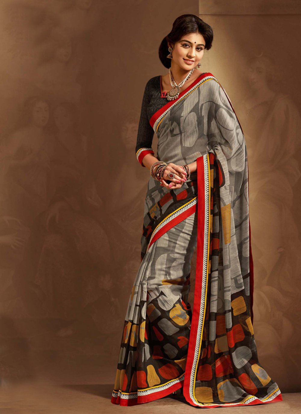 Grey And Black Cotton Silk Saree