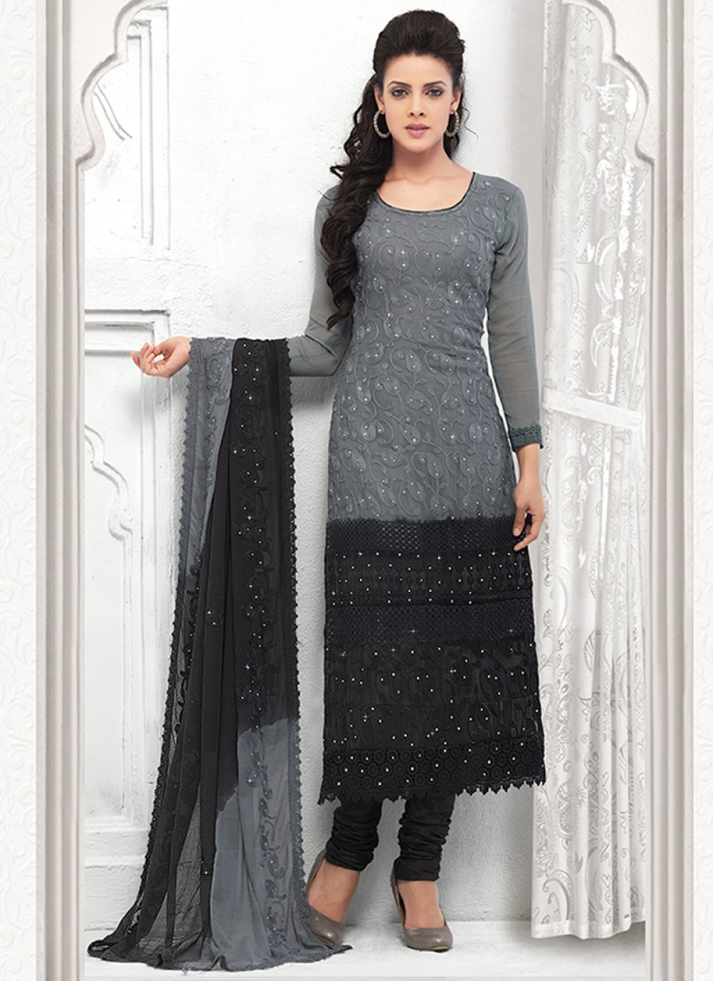 Grey And Black Embroidery Churidar Suit