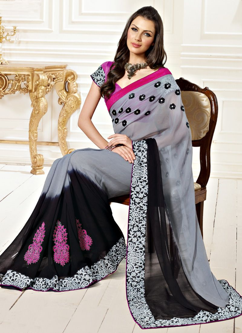 Grey and Black Faux Chiffon Saree