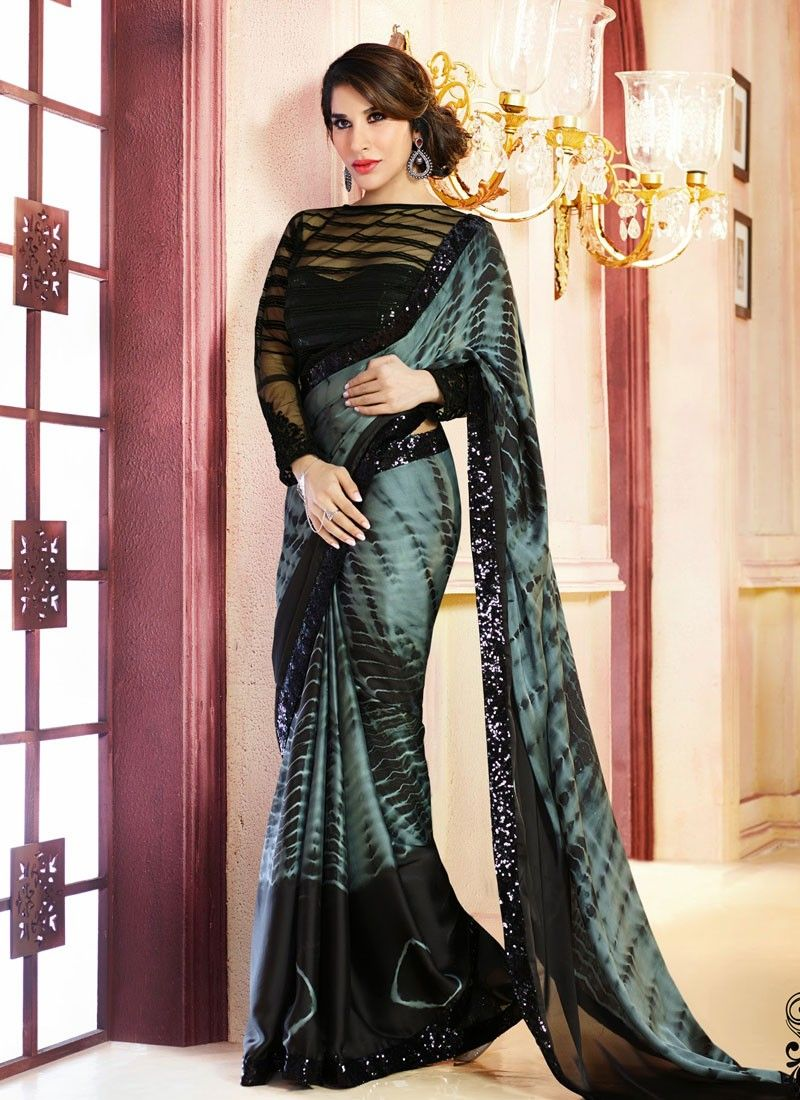 Grey And Black Georgette Saree