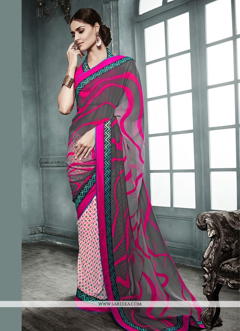 Grey And Cream Georgette Party Wear Saree