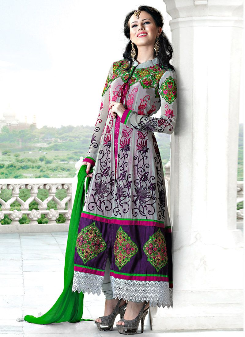 Grey And Dark Pink Faux Georgette Anarkali Suit