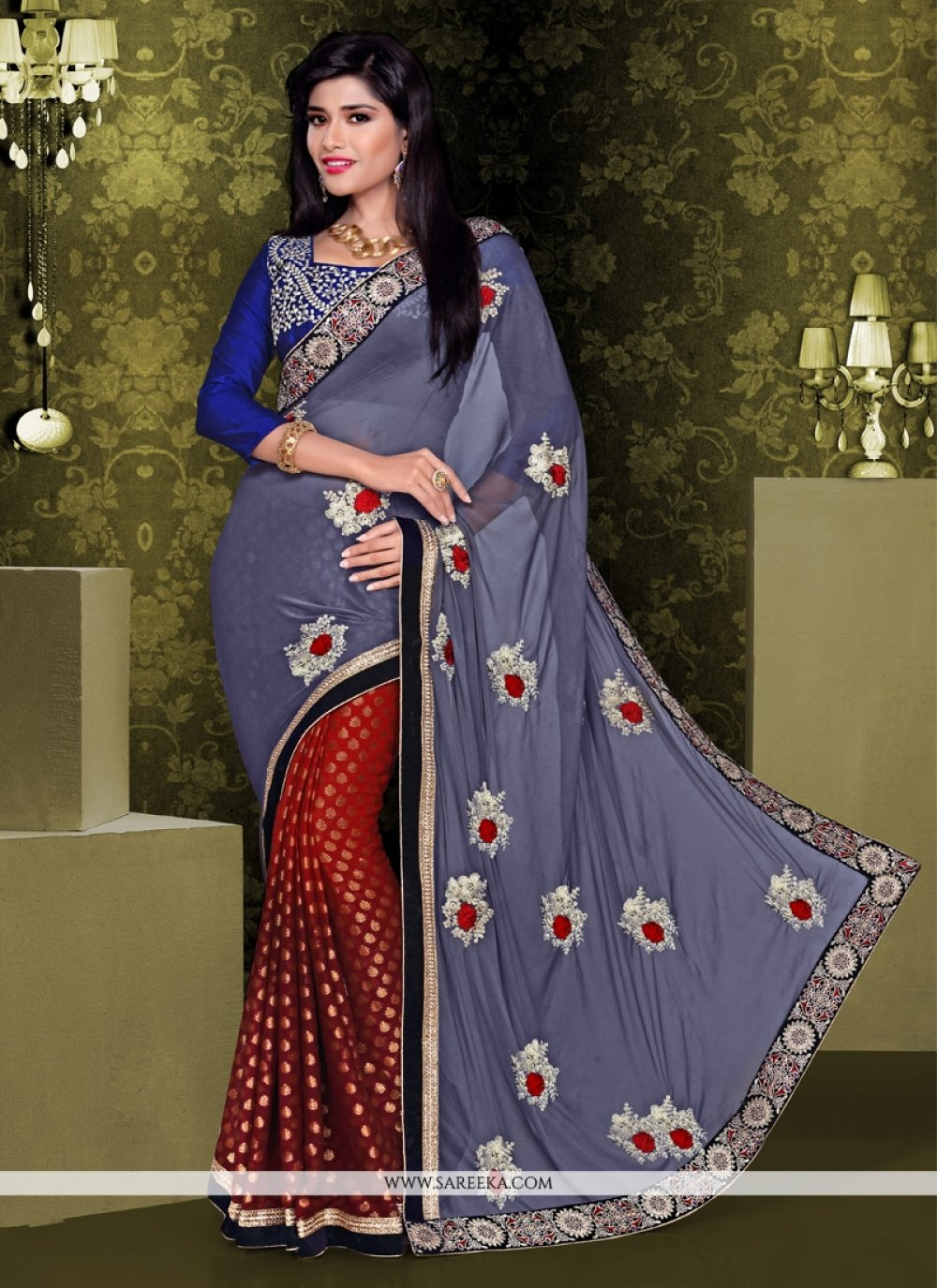 Grey And Maroon Viscose Designer Saree