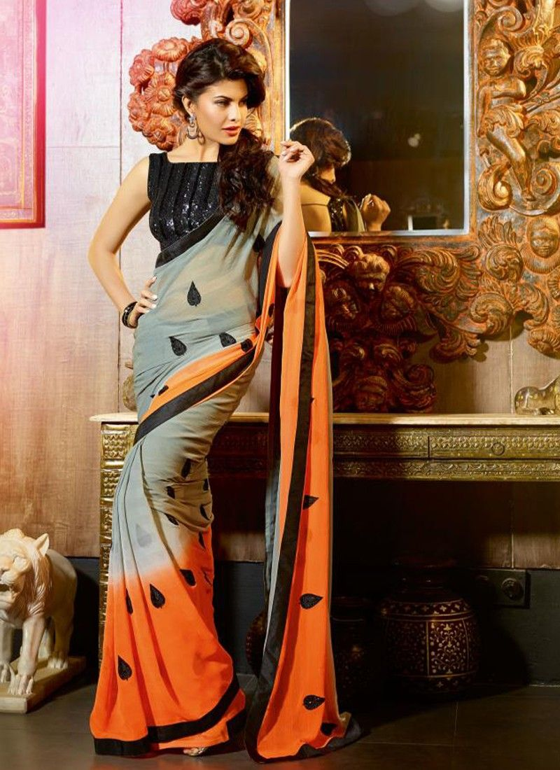 Grey And Orange Patch Border Work Party Wear Saree