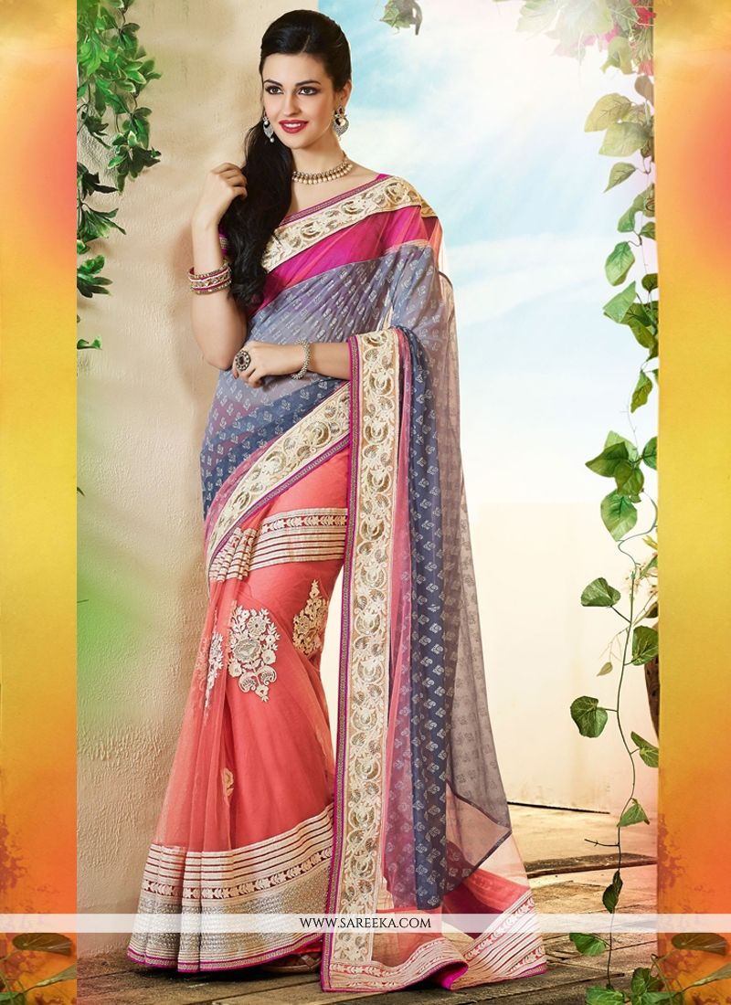 Grey And Pink Georgette And Net Designer Saree