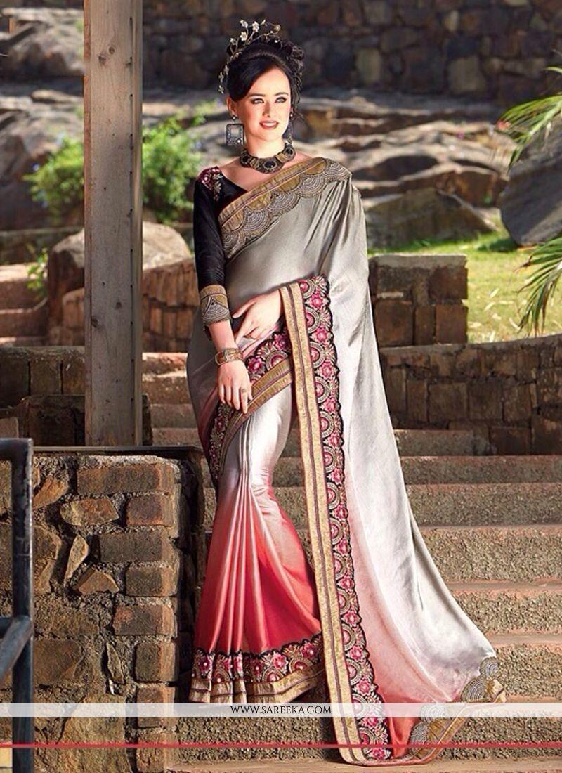 Grey And Pink Satin Chiffon Designer Saree