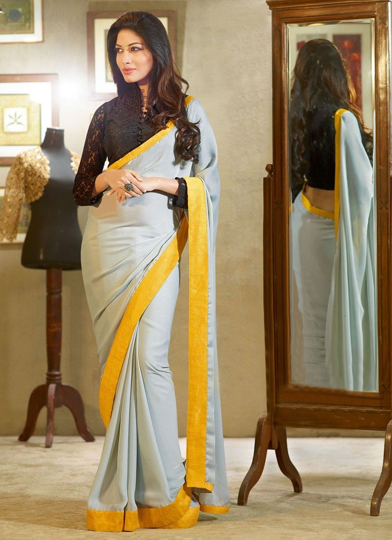 a0d54895598962 Grey And Yellow Patch Border Work Georgette Casual Saree -