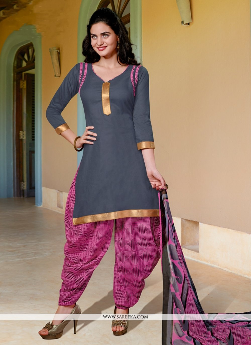 Grey Cotton Satin Punjabi Suit