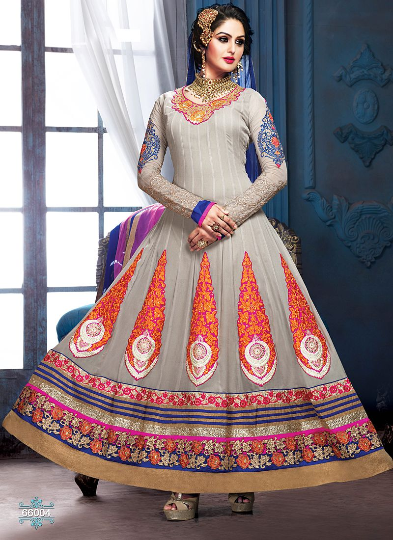 Grey Embroidery Border Work Anarkali Suit