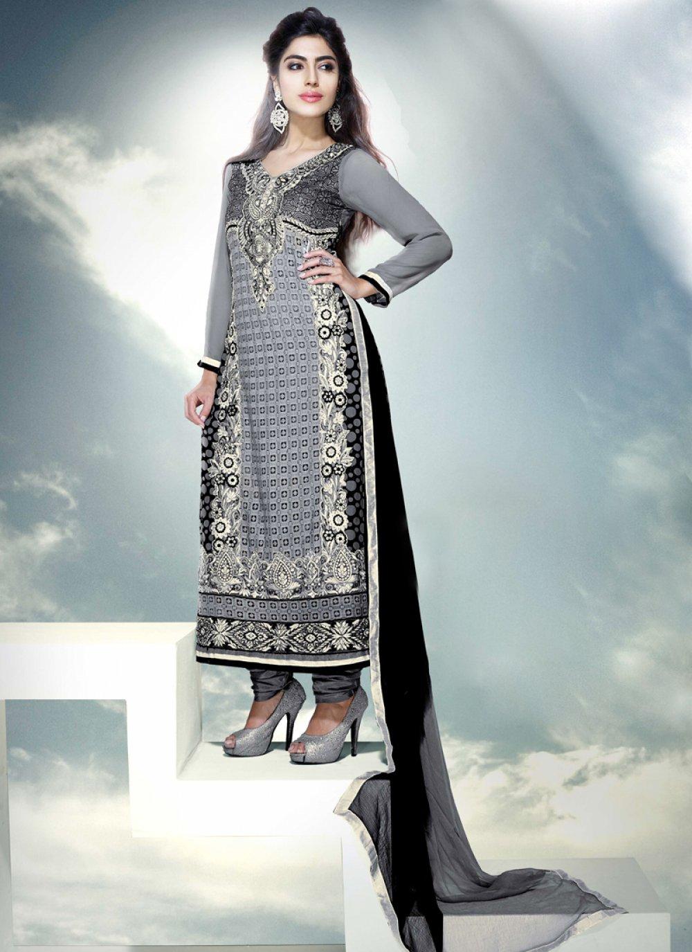 Grey Embroidery Churidar Salwar Kameez
