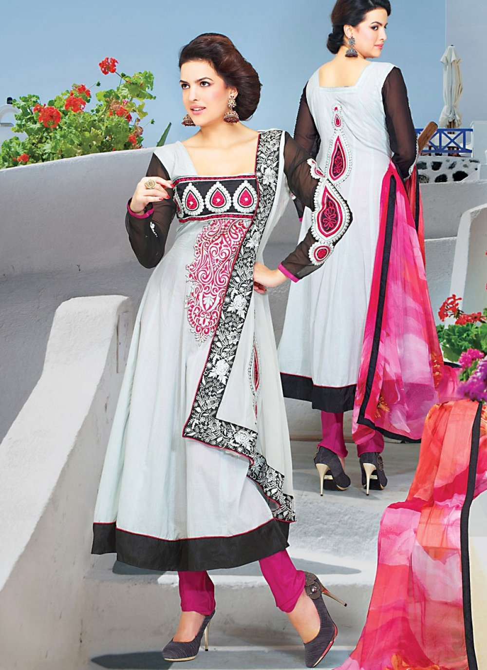 Grey Faux Georgette Churidar Suit