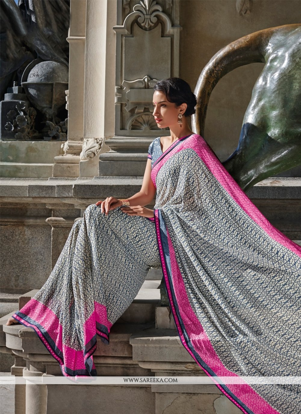 Grey Patch Border Work Georgette Casual Saree