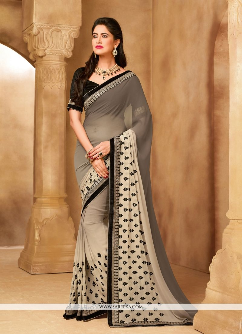 Grey Patch Border Work Georgette Designer Saree