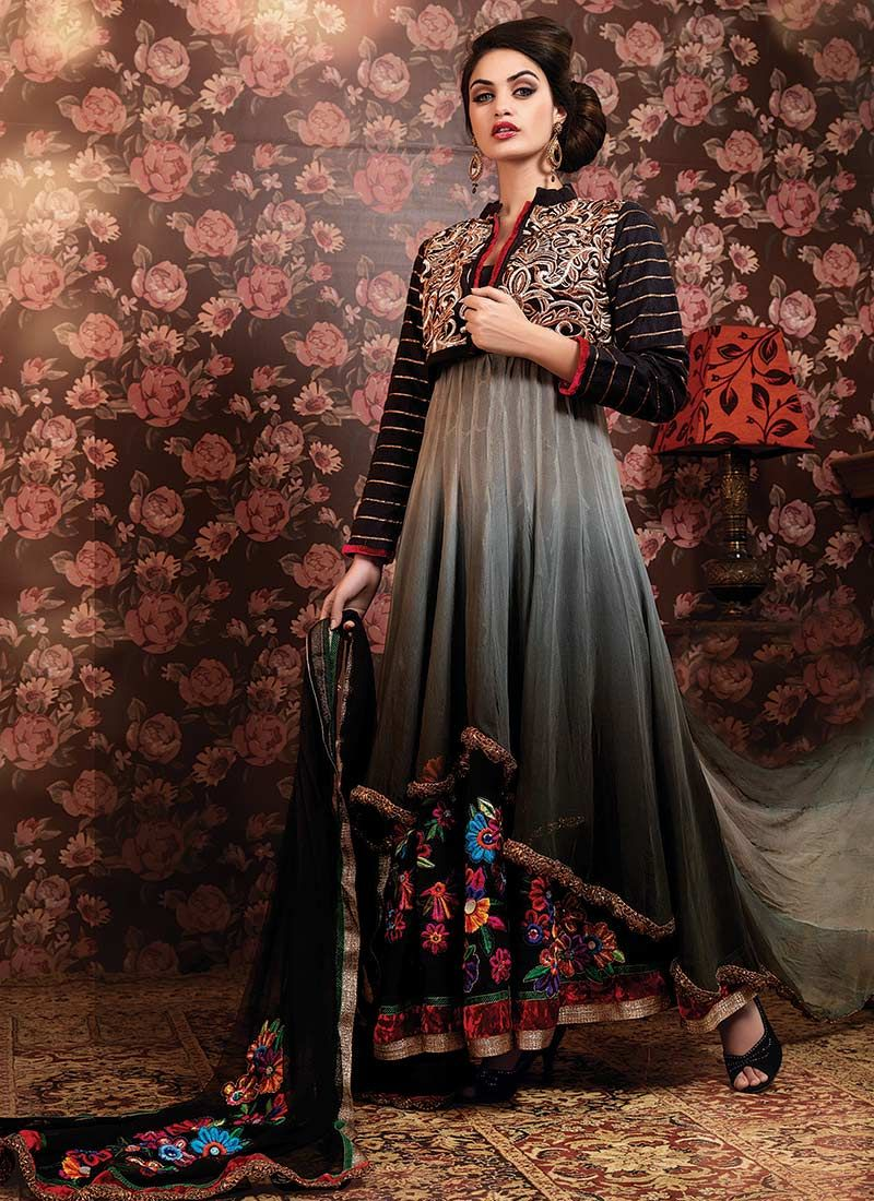 Grey Shaded Chiffon Churidar Suit