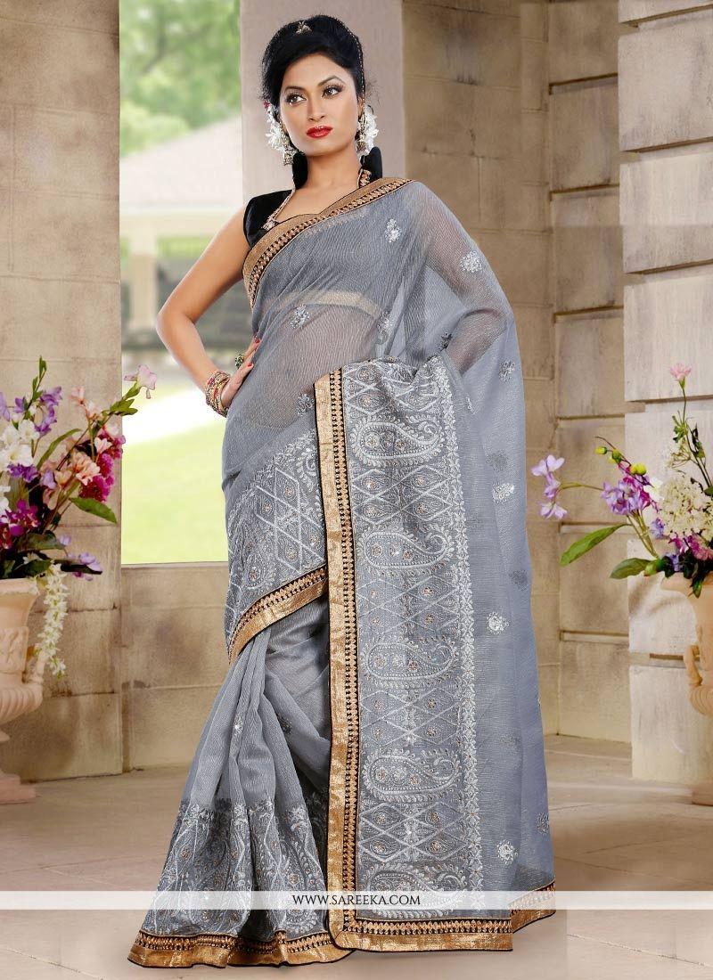 Grey Shaded Resham Work Net Saree