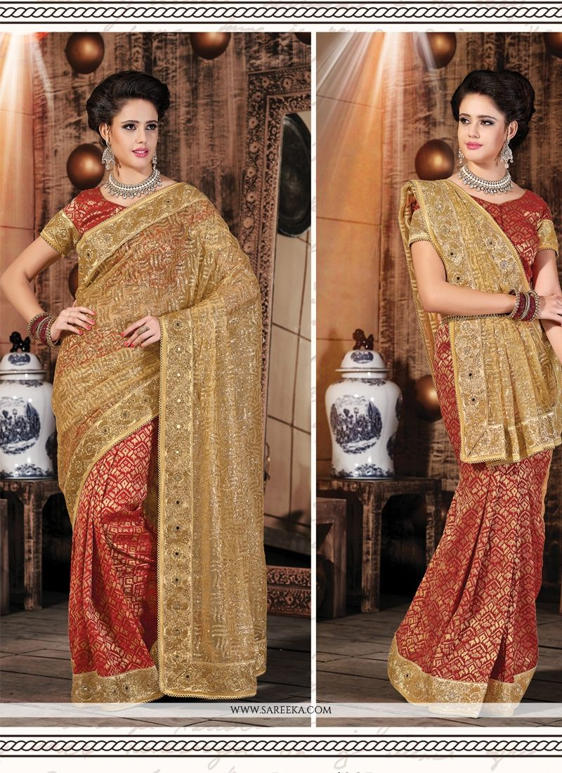 Beige and Red Patch Border Work Net Designer Saree