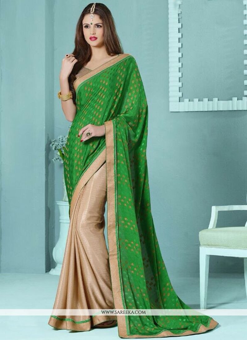 Lace Work Beige and Green Viscose Half N Half  Saree