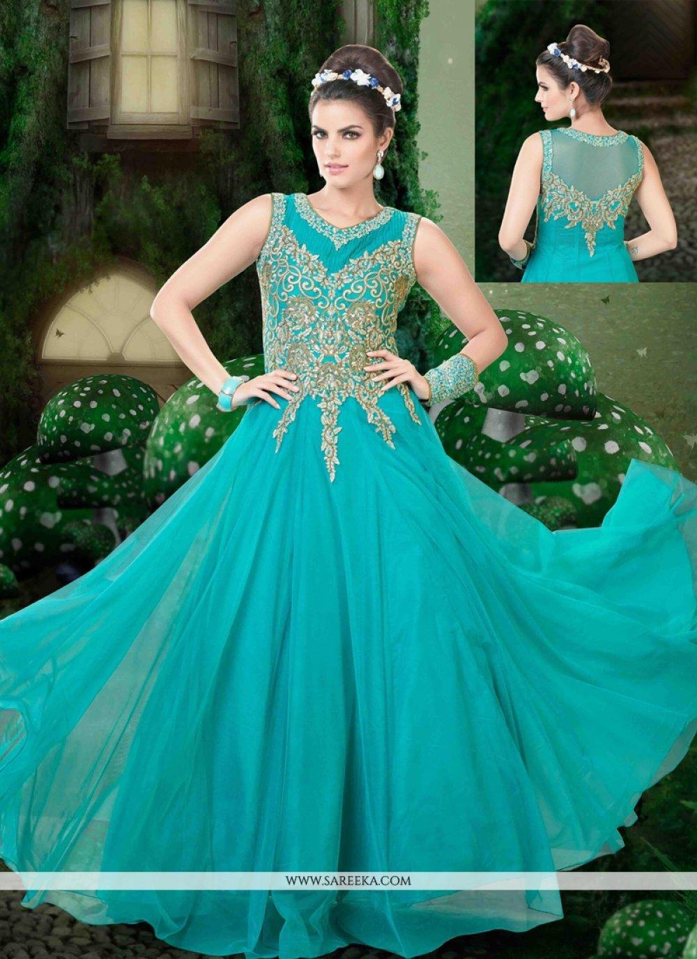 Net Blue Designer Floor Length Suit