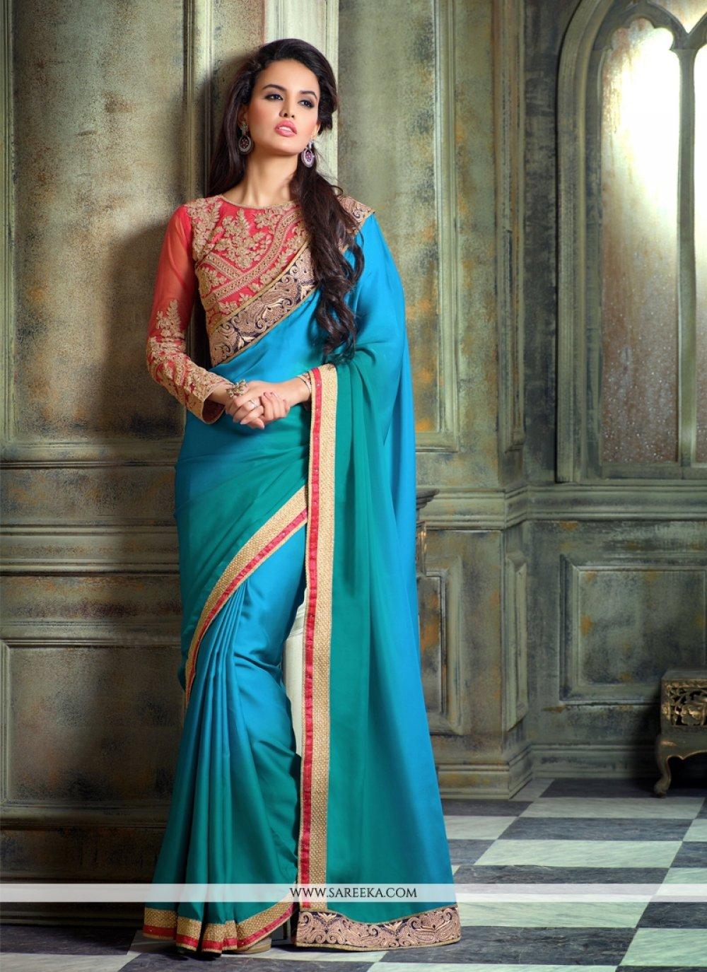 Satin Turquoise Designer Saree