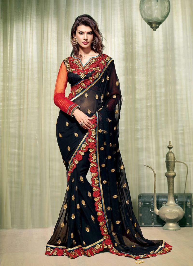 Black Zari Work Designer Saree