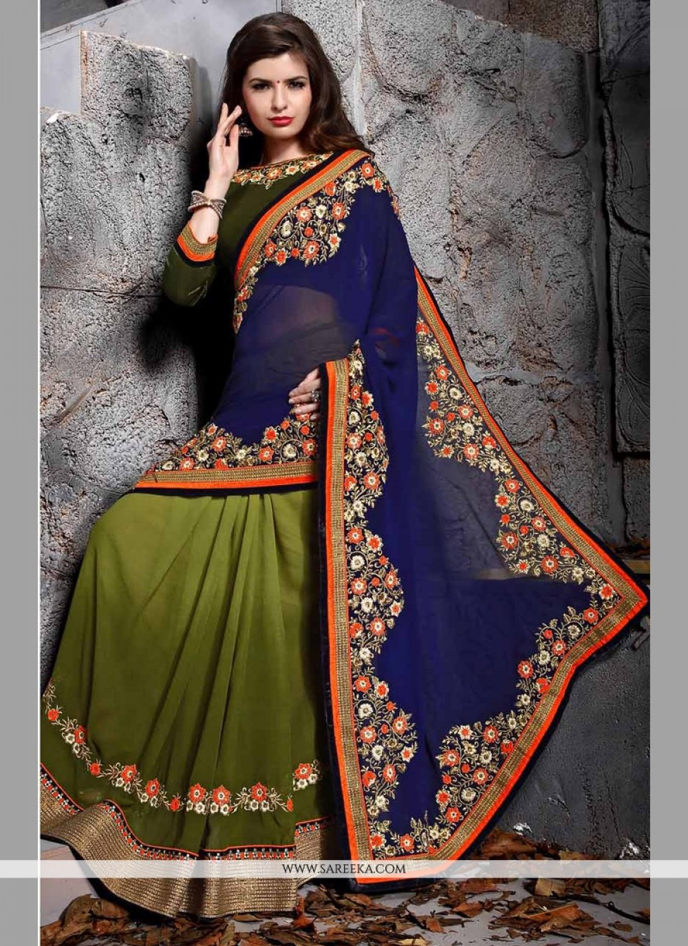 Embroidered Work Green and Blue Designer Saree