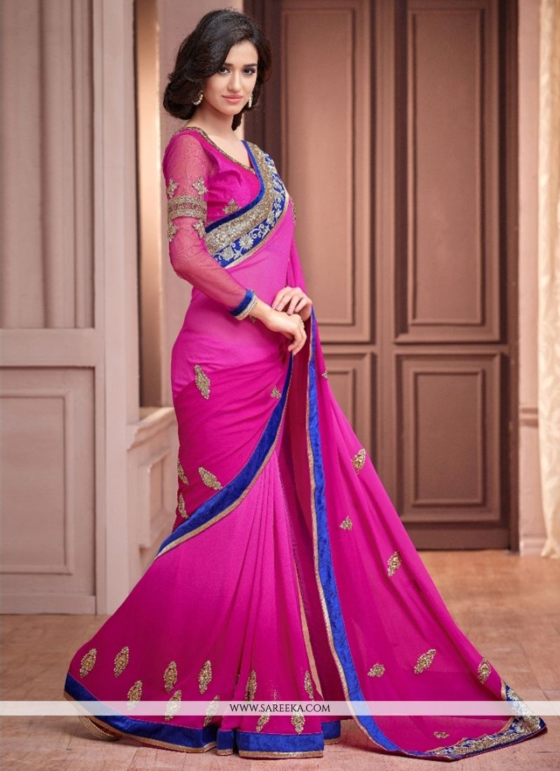 Magenta Embroidered Work Designer Saree