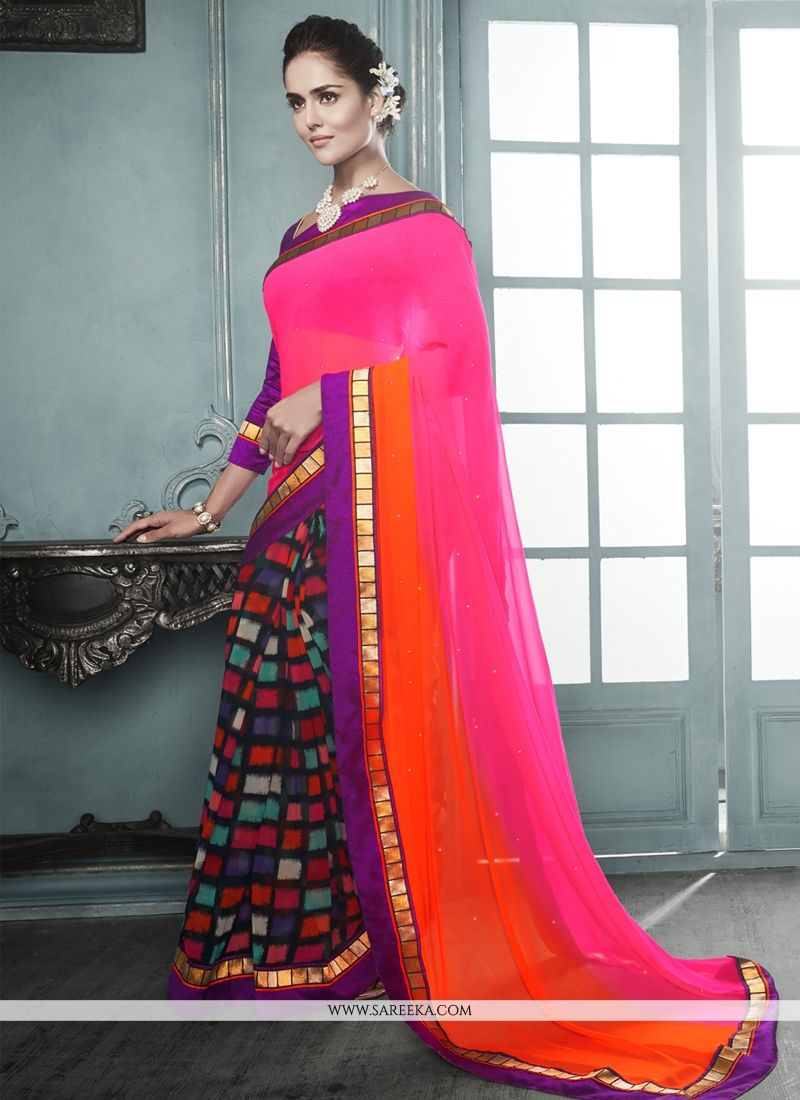 Multicolor Georgette Casual Saree