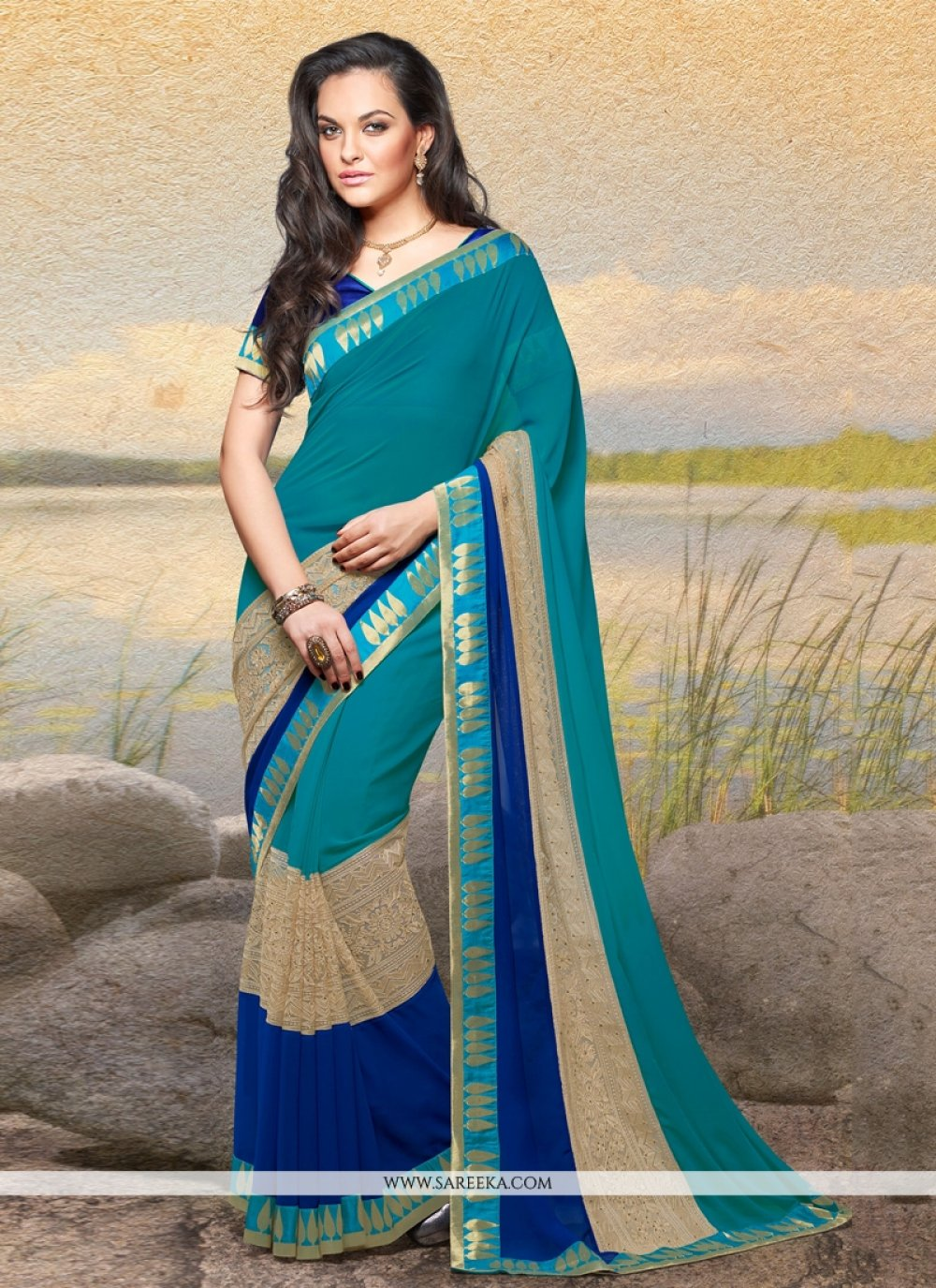 Multicolour Georgette Designer Saree