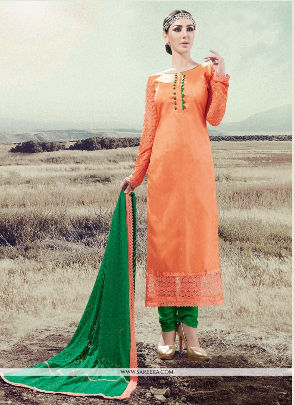 Orange Silk Designer Straight Salwar Suit