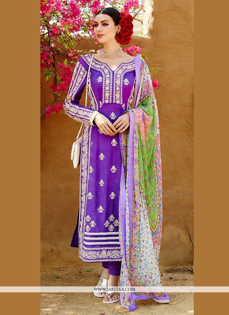 Purple Pure Georgette Pant Style Suit