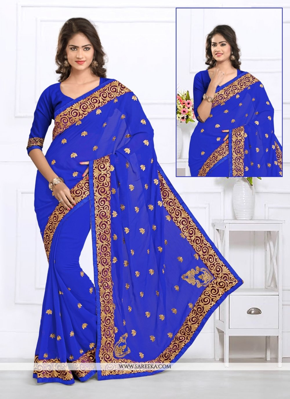 Blue Embroidered Work Casual Saree