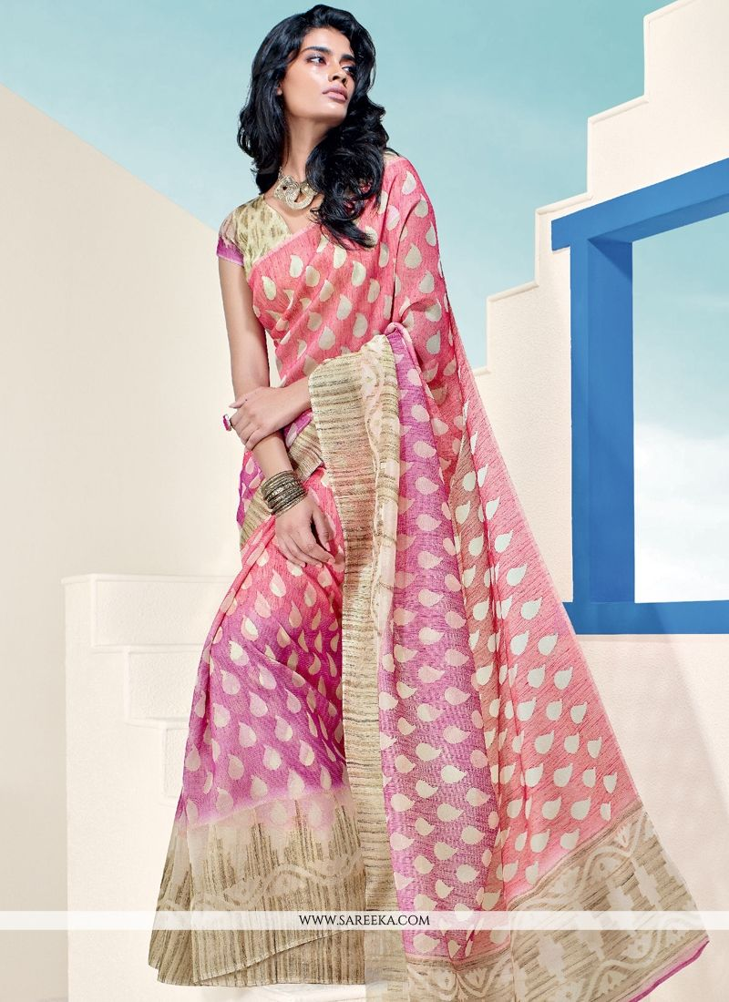 Brasso Georgette Pink Lace Work Casual Saree