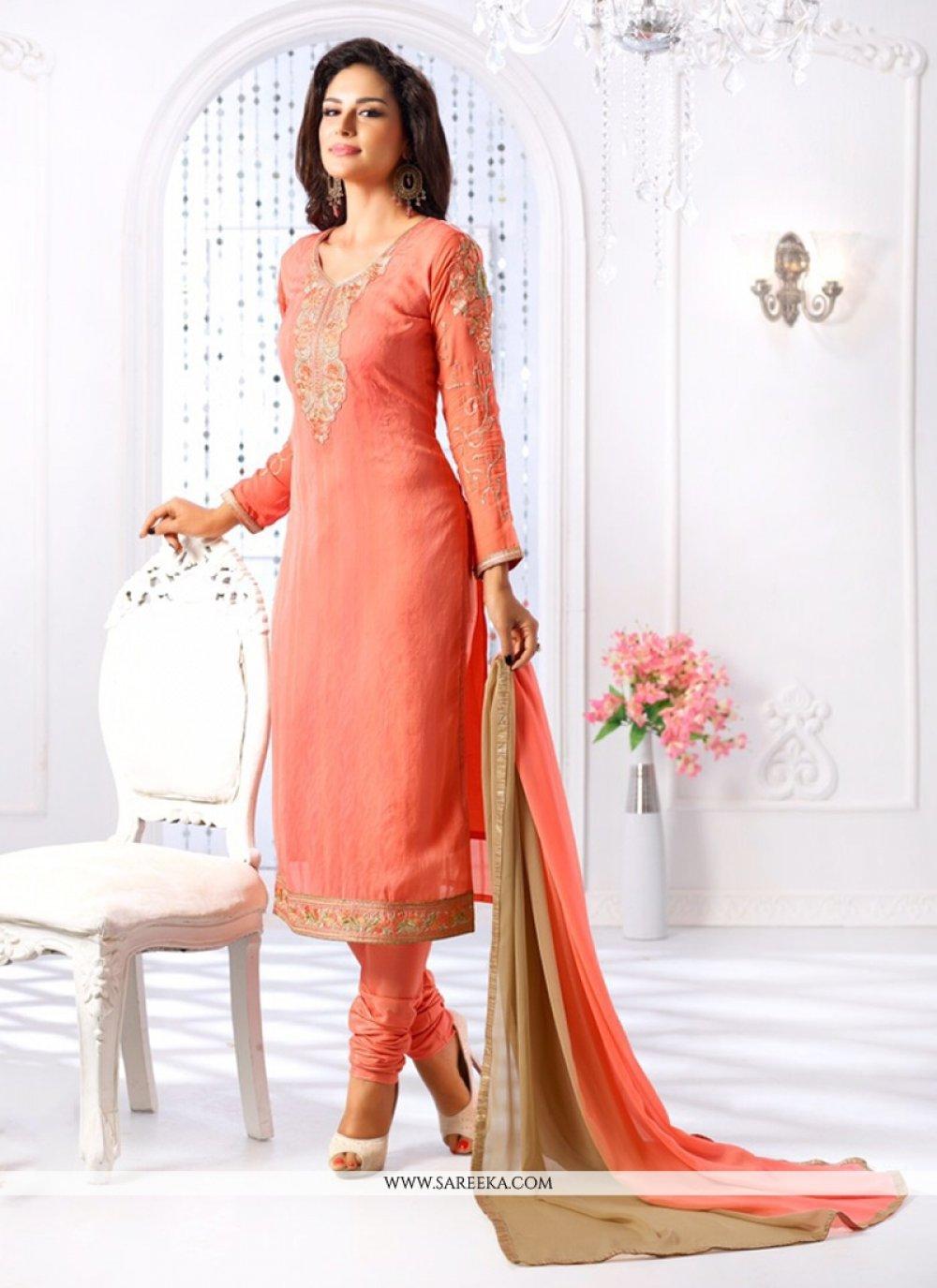 Embroidered Work Georgette Churidar Salwar Suit