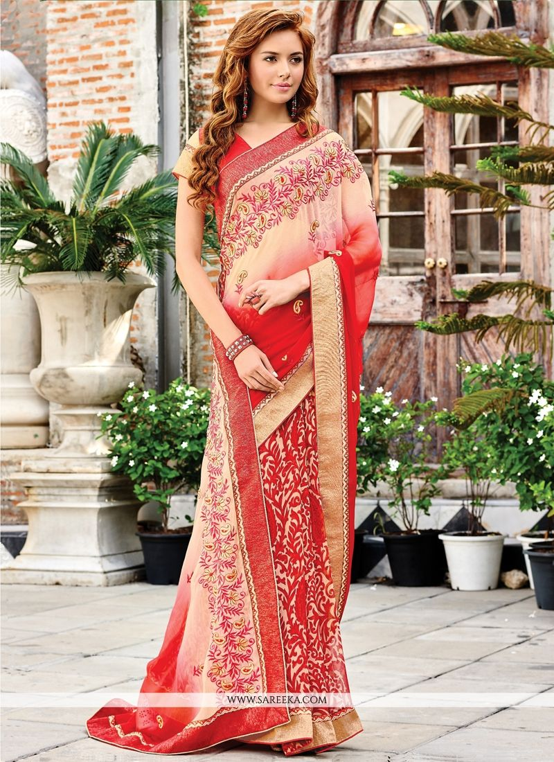 Georgette Embroidered Work Designer Saree